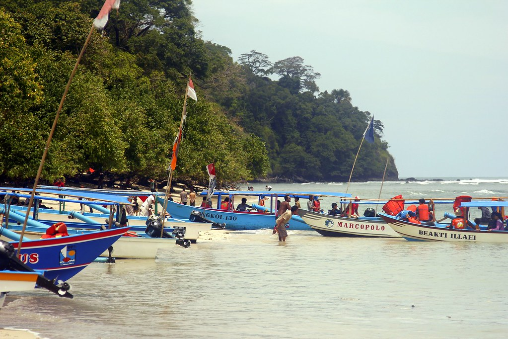 Boats pulled ashore, Pangandaran, West Java, Indonesia