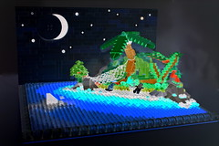 Invert Island (Siercon and Coral) Tags: ocean pink moon water island shark lego pirate inverted starts invert moc