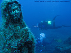 Maddalena of the abyss (PlanktonVideo) Tags: ocean blue sea sculpture fish water sport statue swim divers marine mediterranean underwater emotion maria madonna dive deep documentary scuba silence harmony maddalena bubble submerged archeology depth undersea anthropology abyss ancien excavations