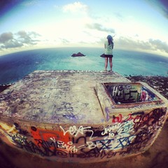 Graffiti (stcknthmmnt (SLEEPING/AWAY)) Tags: ocean sea usa beach clouds square island photography graffiti hawaii hike fisheye trail squareformat honolulu lanikai iphone bunkers iphoneography instagramapp