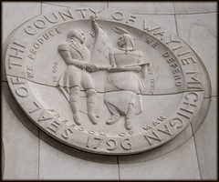 Sculptural Relief: Seal of the County of Wayne, City-County Building (Now Coleman A. Young Municipal Center)--Detroit MI (pinehurst19475) Tags: city two sculpture building downtown michigan detroit young center woodward coleman avenue civiccenter municipal woodwardavenue waynecounty citycountybuilding sculpturalrelief generalanthonywayne waynecountyseal sealofthecountyofwayne