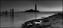 St Marys (Danny Birrell) Tags: ocean longexposure sea blackandwhite lighthouse reflection beach water sunrise sand tamron1750f28 canon40d