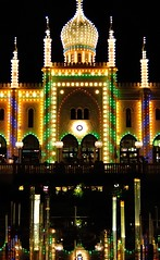 night palace (Park Doc) Tags: night palace castle amusement park lights nocturnal urban landscape romantic whimsy copenhagen denmark dk nikon d90 tamron 1750 if f28 tivoli reflection reflected light dark contrast saturated artificial beauty architecture eastern dome circles