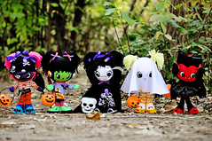 The Boopsie Boo Crew 2! (boopsie.daisy) Tags: holiday cute eye halloween vintage big colorful doll dolls grim reaper sweet ooak batch ghost bat gang inspired boo spooky frankenstein pirate series boopsiedaisy