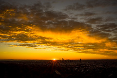 The sun rising over Brisbane (NettyA) Tags: 2016 australia brisbane mtcoottha mtcootthalookout qld queensland sonya7r clouds seqld sunrise sun sunrays golden
