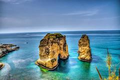 Pigeons Rock or Raouch in Beirut, Lebanon (Paul Saad (( ON/OFF ))) Tags: beirut raouche lebanon pigeonsrock hdr blue sky rock nikon sea beach coast