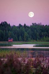 Lunatic time again (STTH64) Tags: moon moonlight sea seaside red cottage luna twilight sky forest trees finland lunatic