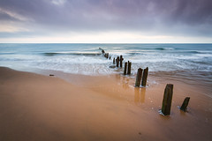 Sandsend in Pastel Colours (aveyardphotography) Tags: high tide receeding groynes soft pastel colour color wooden nature seascape waves wash ripples cloudy sky seaweed smooth clean blue orange andy aveyard