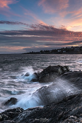 Energetic - Kitty Islet (James McBean Photography) Tags: rock goldenhour oakbay landscape sunset seashore nature water outdoor shoreline shore clouds windy nikond750 cloudporn ngc ocean bluehour rocks britishcolumbia nikon kittyislet sea seascape vancouverisland victoriabc cloudscape seaside