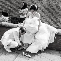 Not quite the happiest day (www.joteasdalephotography.com) Tags: london streetphotography urbanstreetphotography street bride marriage wedding happiness dress shoes