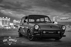 Black and White Monday #34 (Eric Arnold Photography) Tags: blackandwhitemonday bw blackandwhite blackwhite vegas lasvegas strip vegasstrip caesarspalace bellagio black white vw volkswagen typeiii square squareback station wagon cloud cloudy night porsche
