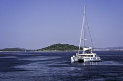 lonely catamaran (szlavid) Tags: croatia sea water sail sailing catamaran nikon d7000 nikkor 50mm 18 summer holiday blue