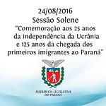 Sess�o Solene - Comemora��o aos 25 anos da Independ�ncia da Ucr�nia 24/08/2016