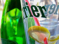 Biarritz, Pays Basque, France, 2010 (Photox0906) Tags: france perrier beverage boisson drink verre vert green slice rondelle lemon citron glass bottle bouteille brand marque paille straw rose pink reflection reflet empty vide soif thirst thirsty assoiff