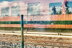 Rapid Transit (pni) Tags: metro fence train car tree sky cloud sea water stone rail multiexposure multipleexposure tripleexposure helsinki helsingfors finland suomi pekkanikrus skrubu pni