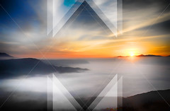 Nature Abstract 1 (tcjakob) Tags: nature sunset triangles lines water sun clouds orange blue gray
