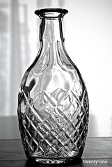 Day Twenty One: Silhouette (laura.levesque) Tags: blackandwhite glass silhouette 50mm nikon flickr pattern crystal clear 50 backlighting decanter blackandwhitephotography project50 tp302
