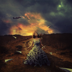 waiting to fly (brookeshaden) Tags: sky selfportrait storm field clouds paper airplane fly surrealism flight fineartphotography brookeshaden
