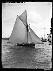 Gaff cutter, possibly ERA, under sail on Sydney Harbour