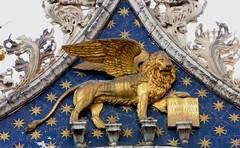 St Marks Lion 2 (tom_2014) Tags: city venice italy sculpture art church architecture gold italian europe basilica famous lion eu landmark unesco worldheritagesite gilded byzantine sanmarco worldheritage stmarkssquare stmark veneto stmarksbasilica sigil wingedlion leonine stmarkslion