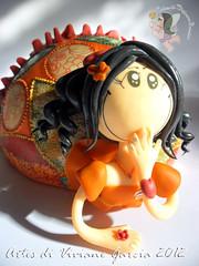 Namoradeira Lais (Artes di Viviane Garcia) Tags: doll biscuit infantil kawaii boneca decorao cabaa namoradeira vivianegarcia