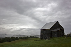 Gray September Sky (Vermont Lenses) Tags: trees mist grass rural landscape maple vermont cloudy gray september foliage