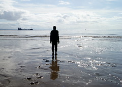 Another Place at Crosby Beach (chrisbell50000) Tags: shadow sea sculpture man reflection men beach water modern naked nude boat sand iron ship place bare vessel anthony another sculptures pornographic gormley crosby merseyside undressed blundellsands chrisbellphotocom