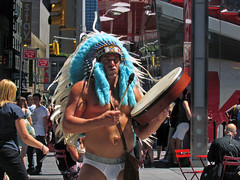 The Naked Indian (Multielvi) Tags: street new york city nyc ny man guy naked square drum manhattan candid indian dude belly button times navel tkts headdress skivvies tomtom outie