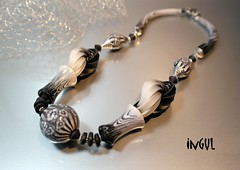 Black and white (Ingul-design) Tags: art necklace handmade kunst polymerclay fimo kato premo ketten handarbeit polymerclaybeads
