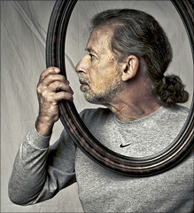 (framed) (TheWalkinMan) Tags: selfportrait face profile frame nikonsunglassesscoredatthethriftstore