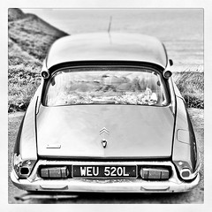 Citroen DS (D3M Photography) Tags: england white black monochrome car square french citroen ds squareformat inkwell hdr 1950 iphoneography instagramapp uploaded:by=instagram