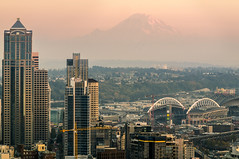 Mt Rainier (Brock Whittaker Photography) Tags: seattle city silhouette lens landscape photography evening washington nikon mt sony peak 11 mount telephoto rainier brock pikes f56 scape distance f8 alternative c3 tair whittaker nex 11a