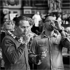 The connaisseurs (John Riper) Tags: street two bw white black men netherlands monochrome canon john square photography mono glasses wine zwartwit candid watch event drinks l gin cultural schiedam gentlemen experts 6d 24105 genever jenever straatfotografie gincity riper johnriper jeneverfestival