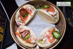 Lobster BLT steamed buns, Old Bay aioli, candied bacon (thewanderingeater) Tags: spyglassrooftopbar rooftopbar manhattan nyc midtownwest cocktails barfood archerhotel