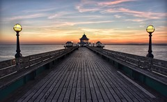 The lights are on but there's nobody home (Nige H (Thanks for 20m views)) Tags: pier sunset sky cloud nature landscape lamps clevedon clevedonpier empty sea seascape somerset bristolchannel channel summer summernights england