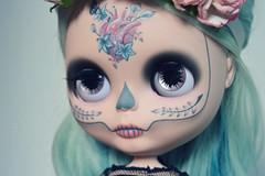 Romantic Calavera (lolidolicustoms) Tags: custom ooak doll blythe commission lolidoli heart nature romance calavera