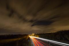 Liness (ashleyhoughtonmedia) Tags: longexposure lighttrails shutterspeed m20 motorway traffic night maidstone kent detling clouds