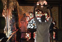 Rise in Humility (StudioSugopi) Tags: warmth hues guru spiritual iskcon new vrindavan devotee devotion pane stainedglass glass window indian architecture lighting lightexposure