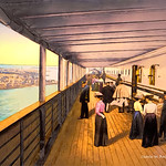 Digital Pastel and Pencil Drawing of a Steamship Promenade Deck by Charles W. Bailey, Jr. thumbnail