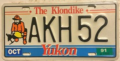 YUKON 1991 LICENSE PLATE (woody1778a) Tags: yukon canada 1991 licenseplate numberplate registrationplate mycollection myhobby arctic history collection