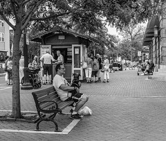 Sitting With A Friend (Catskills Photography) Tags: bench hbm people streetphotography streetcandid candid capemay dog animal pet blackandwhite urban canon24mmf28stmlens