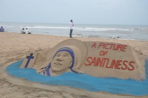 Saint Mother Teresa Sand Art at Puri Beach
