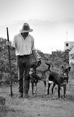 Friendship...  Loyalty (Beatriz-c) Tags: man hombre pastor shepherd perro dog friendship amistad loyalty lealtad country campo blanco negro black white bw bn sky cielo