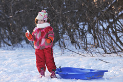 Winter Girl (Serega Ivanov) Tags: girl caucasian female child outdoors winter snow playing sledge fun