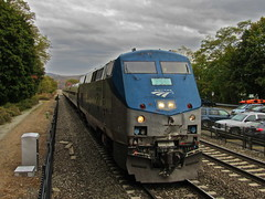 Big Blue (Joseph Stroppel) Tags: amtrak ethan allen express 291 k5la 710 ge genesis p32acdm dual mode new york manhattan penn station rutland vermont cold spring hudson highlands river valley metro north railroads rail rails railfanning photography outdoors fall foliage