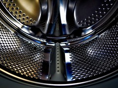 INSIDE....THE WASHING MACHINE (simongavin83) Tags: metal stainlesssteel shiny drum symmetry symmetrical washingmachine porous ourdailychallenge nikond5100