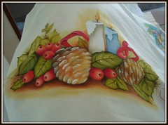 toalha de mesa natal (romelia.artesanatos) Tags: natal de com toalha velas mesa 2012 pinhas velo