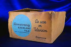 "Asbestos Floor Tile - ""As Seen On TV"" (Asbestorama) Tags: white tile square floor box vinyl plastic carton flooring armstrong asbestos asseenontv excelon 9x9 9inch"