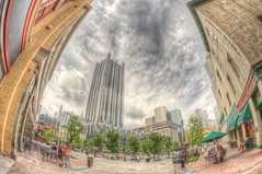 Market Square in PIttsburgh fisheye HDR (Dave DiCello) Tags: beautiful skyline photoshop nikon pittsburgh tripod usxtower christmastree fisheye northshore bluehour nikkor hdr highdynamicrange pncpark thepoint pittsburghpirates cs4 steelcity photomatix beautifulcities yinzer cityofbridges tonemapped theburgh pittsburgher colorefex cs5 ussteelbuilding beautifulskyline d700 thecityofbridges pittsburghphotography davedicello pittsburghcityofbridges steelscapes beautifulcitiesatnight hdrexposed picturesofpittsburgh cityofbridgesphotography