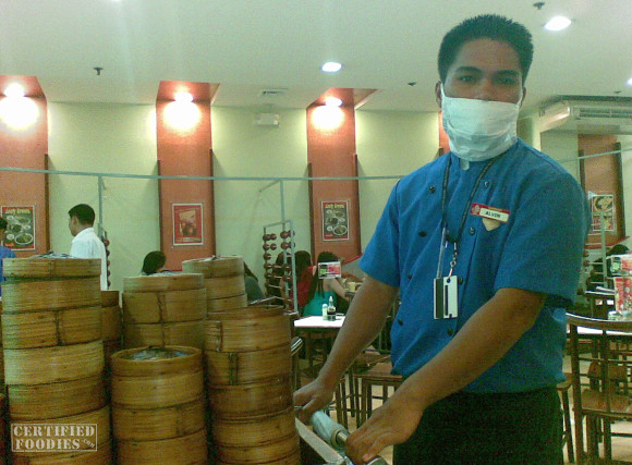 Harbour City staff roll dimsum carts, ready for your orders